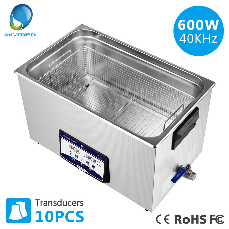 SKYMEN Digital 30L 600W Ultrasonic Cleaner Heater Timer Bath Sonic Injector Industrial Metal Parts PCB Lab Medical Tools Washing