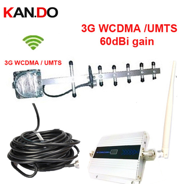 W/ cable & yagi antenna 3G gain 55dbi LCD display function max.500 Sq meter work 3G WCDMA mobile phone signal booster repeater