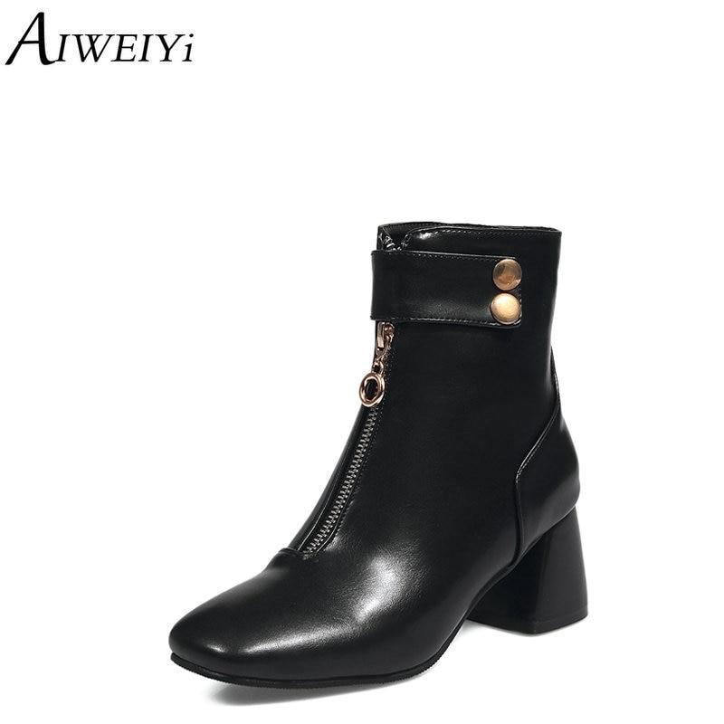 Black Del Suave De Dedo Mujeres Para white Zapatos Aiweiyi Negro Cuadrado Tacón Invierno Botas Pie Cuero Martin La Blanco Tobillo Pu Alto ncwwRqvgx