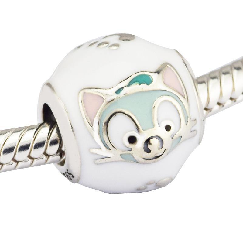 3d83c713b Fits pandora Bracelet Charms 925 Sterling Silver Cute Small Fox Embossed  Enamel Animal beads Women Jewelry DIY Accessorie
