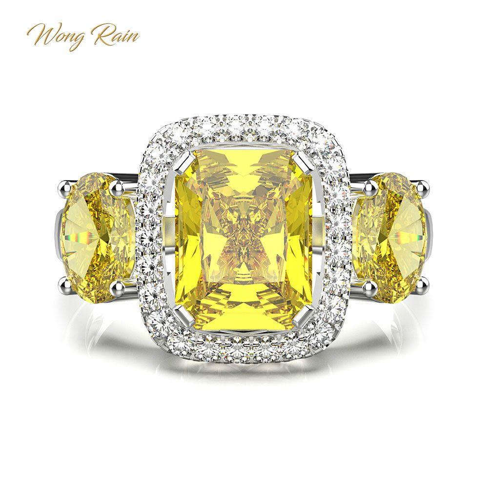 Wong Rain 100% 925 Sterling Silver Citrine Gemstone Birthstone Wedding Engagement Cocktail Women Ring Fine Jewelry Wholesale