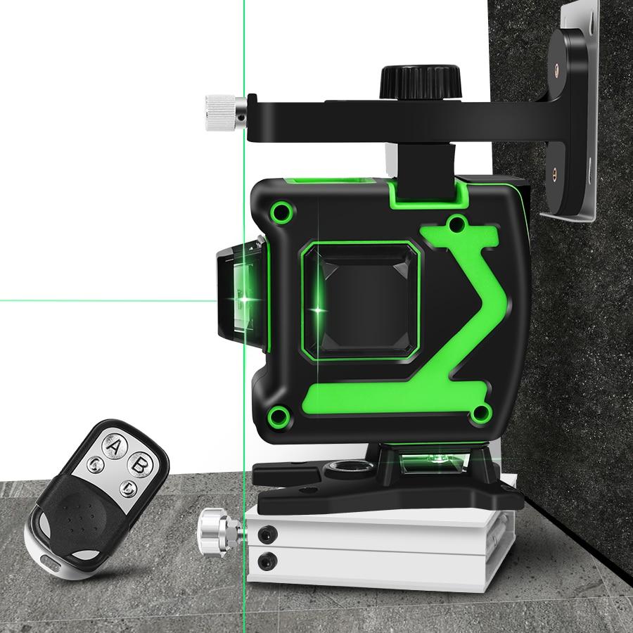 Лазерный уровень 12 линий 3D самонивелирующийся 360 горизонтальный и вертикальный крест супер мощный зеленый лазерный луч линии