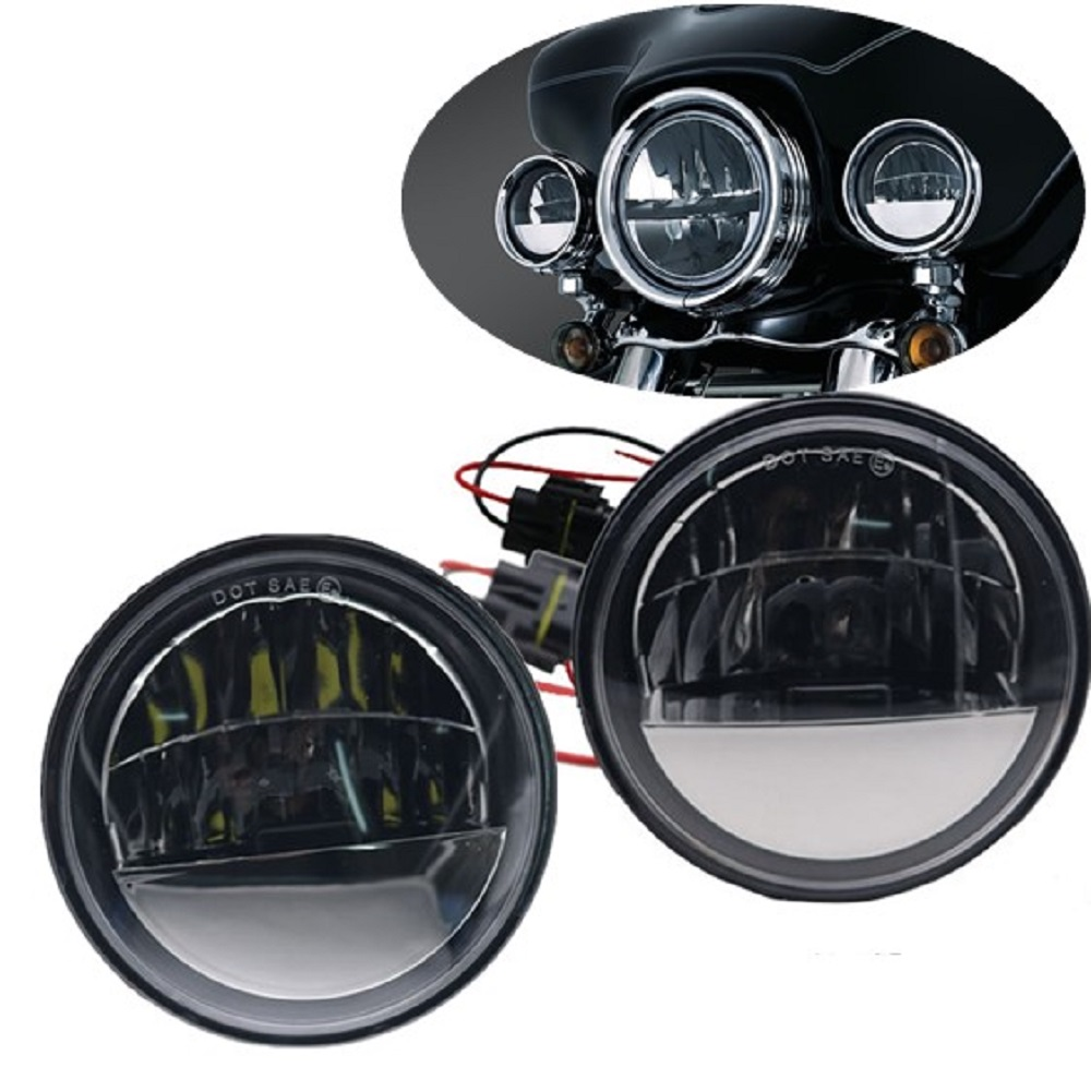 4 1/2 4.5 LED Fog Lights Black Motorcycle Reflector Passing Auxiliary Light