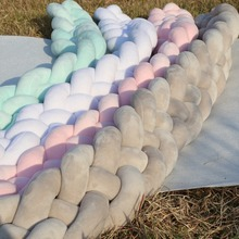 Handmade Braid Design Plush Baby Crib Protector Pillow