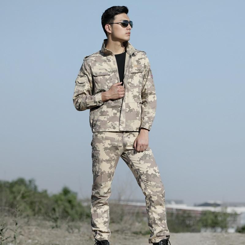 High Quality Men Army Beige Tactical Military Uniform Camouflage Combat Jacket+ Combat pant Special Forces ACU Uniforms Man Coat - 2