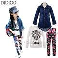 Девушка набор осень детская одежда дети с длинным рукавом джинсовой пальто и тигр печати футболка & цветочный принт леггинсы спортивный костюм