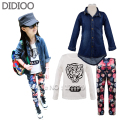 Girl set autumn children clothing kids long sleeve denim trench coat & tiger print t shirt & floral print leggings sport suit