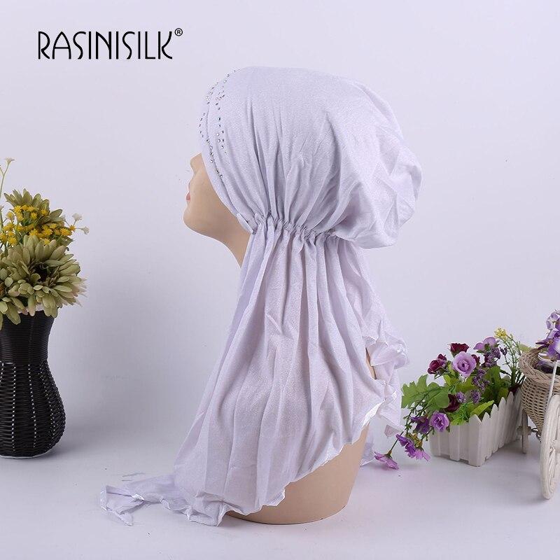 Rasinisilk Women Scarf Pearl Chiffon Long Turban Headband Beaded Muslim Hijab Scarf Turbante Tie Headwrap Women Accessories