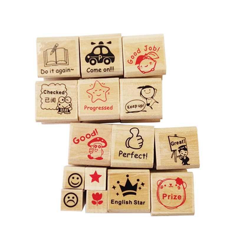 15 шт./компл. деревянный штамп мультфильм для детского сада медсестры школы учительницы отзывы учители стимулируют резиновый штамп уникальный подарок для детей