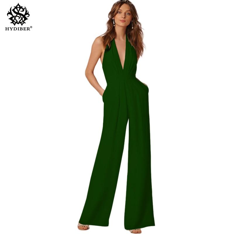 Monos romper mujeres verano sexy backless bodycon Mono para el Partido ladys elegante largo pierna ancha Pant body Femme 2018