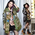 New graffiti letters printed loose hooded melinda style trench coat sping autumn cotton trench for women
