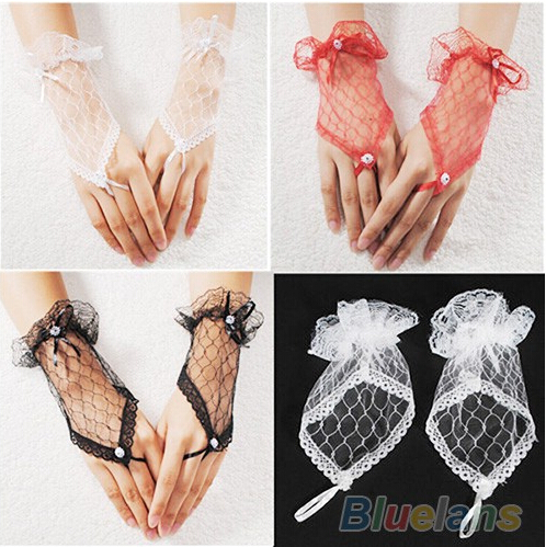 MYTL NEW  Fashion Sexy Lace Wrist Fingerless Evening Party Short Gloves Dress