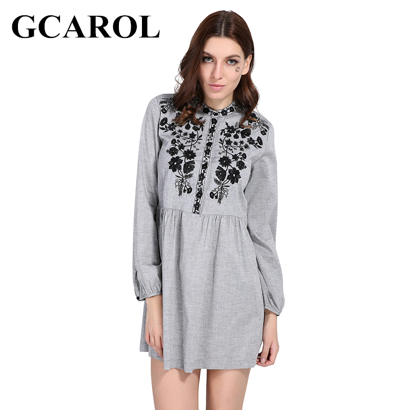 GCAROL 2018 Early Spring New Black Floral Embroidered Women Dress Stand Collar Vintage Dress Mid Waist Pleated Dress