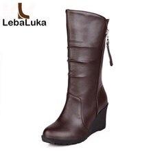 Tamanho 28-50 LebaLuka Mulheres Cunha Metade Curtas Botas Neve do Inverno Alta Cunhas Bota Calçados de Moda Quente Botas Feminina calçados