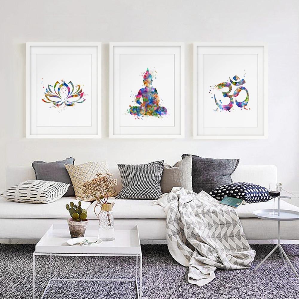 Home Art Decor: Buddha Wall Art Lotus Flower Art Print Yoga Watercolor OM
