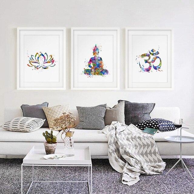 Buddha Wall Art Lotus Flower Print Yoga Watercolor Om Painting Decor Fine