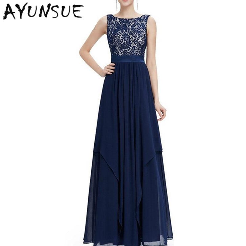 94cb74b3e5 US $45.83 |Hollow Vestido De Festa Navy Blue Robe Sexy Dress Women Party  Dresses 2019 Sleeveless Vestido Long Summer Dress Chiffon FYY320-in Dresses  ...