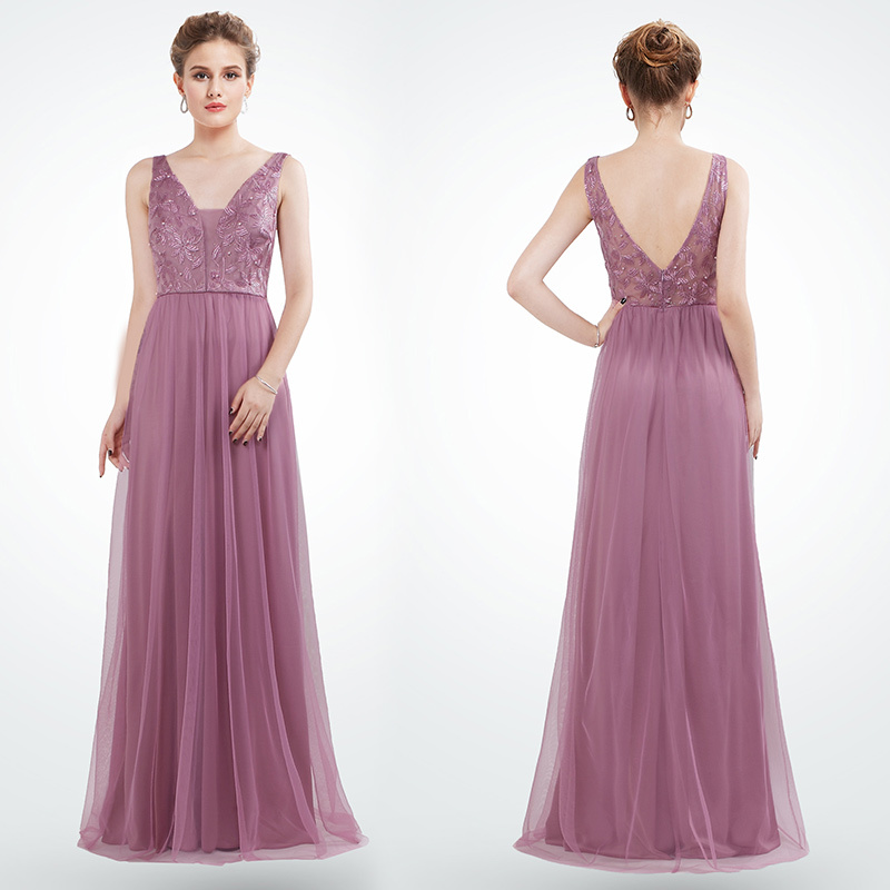 Cheap   Evening     Dresses   Long Sexy V-Neck Sleeveless Robe De Soiree Elegant Beading Embroidery Lace   Evening   Gown Lady Abendkleider