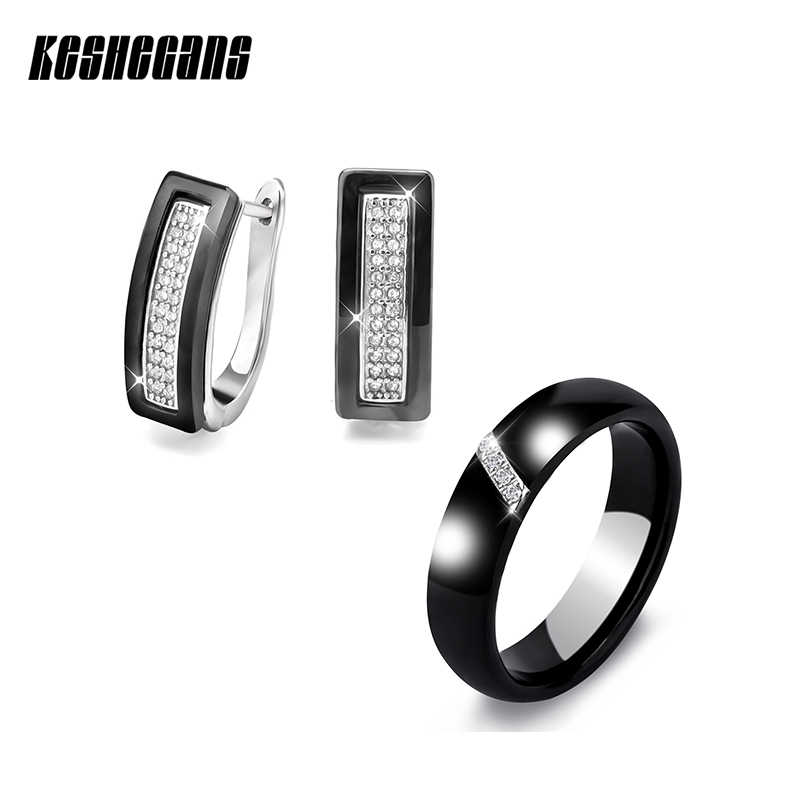 Fashion Jewelry Sets U Shape Stud Earrings & Rings Black White Ceramic With Bling Rhinestone For Women Elegant Wedding Gifts