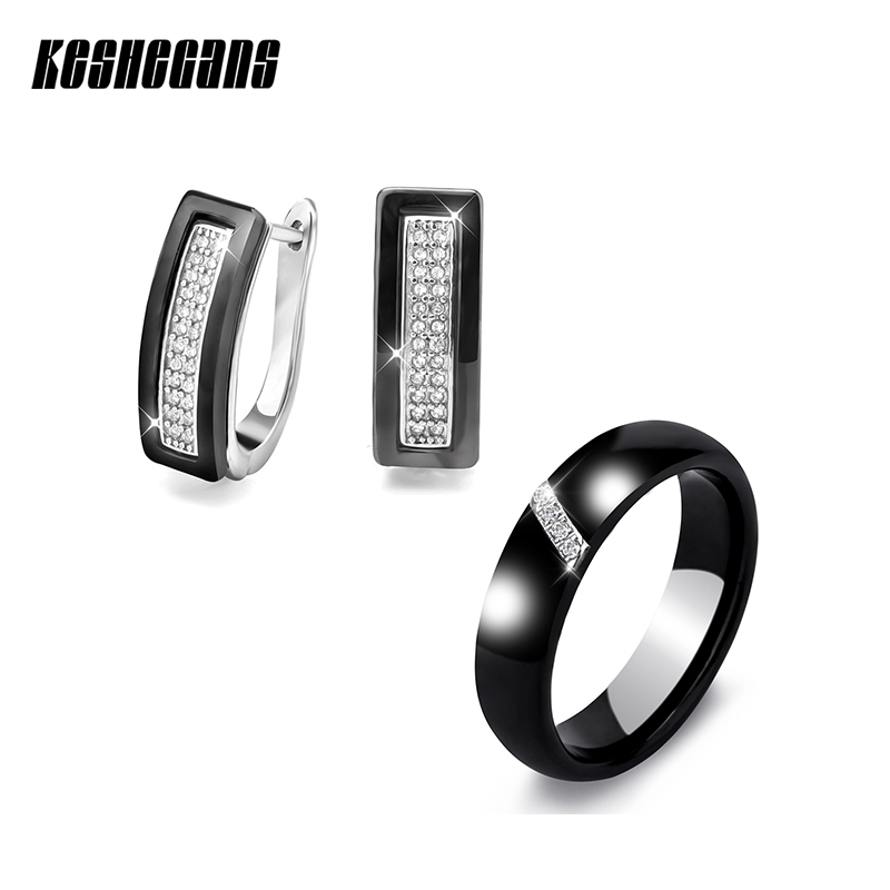 Fashion Jewelry Sets U Shape Stud Earrings & Rings Black White Ceramic With Bling Rhinestone For Women Elegant Wedding Gifts floral shape rhinestone earrings