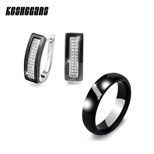 Fashion Jewelry Sets U Shape Stud Earrings & Rings Black White Ceramic With Blin