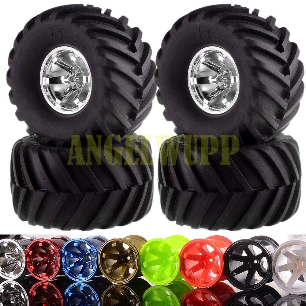 4xRC 1/10 Off Road Monster Truck BigFoot Wheel Rim&Tyre Tires 6008B-3000 HSP HPI 4pcs set 140mm rc 1 8 monster truck tires tyre plastic wheel rims