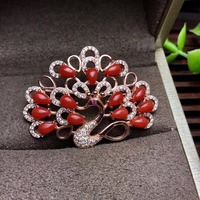 Natural coral brooch, peacock opening, 925 silver, beautiful color, luxurious style