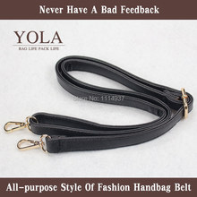 Free shipping PU leather belt male and female bag shoulder straps,black2.0cm