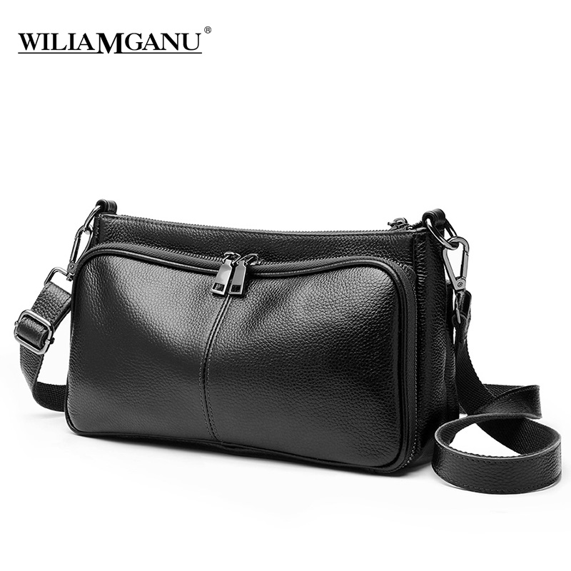 WILIAMGANU Genuine Leather handbag Wild leather diagonal shoulder bag Female Luxury Chains Bags Sequined Zipper Messenger Bag nevenka new design women fashion style handbag female luxury chains bags sequined zipper messenger bag quality pu leather tote