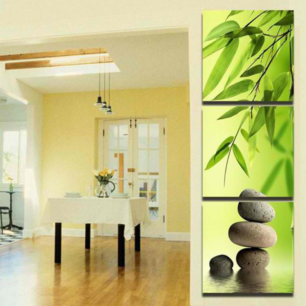 3 Panel Wall Art Canvas Painting Spa Stone Bamboo Home Decoration ...