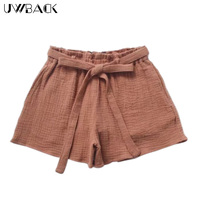 Uwback Women Casual Shorts Cotton Linen Shorts Loose Lady 2018 New Summer Mujer Soft Shorts Wrinkled