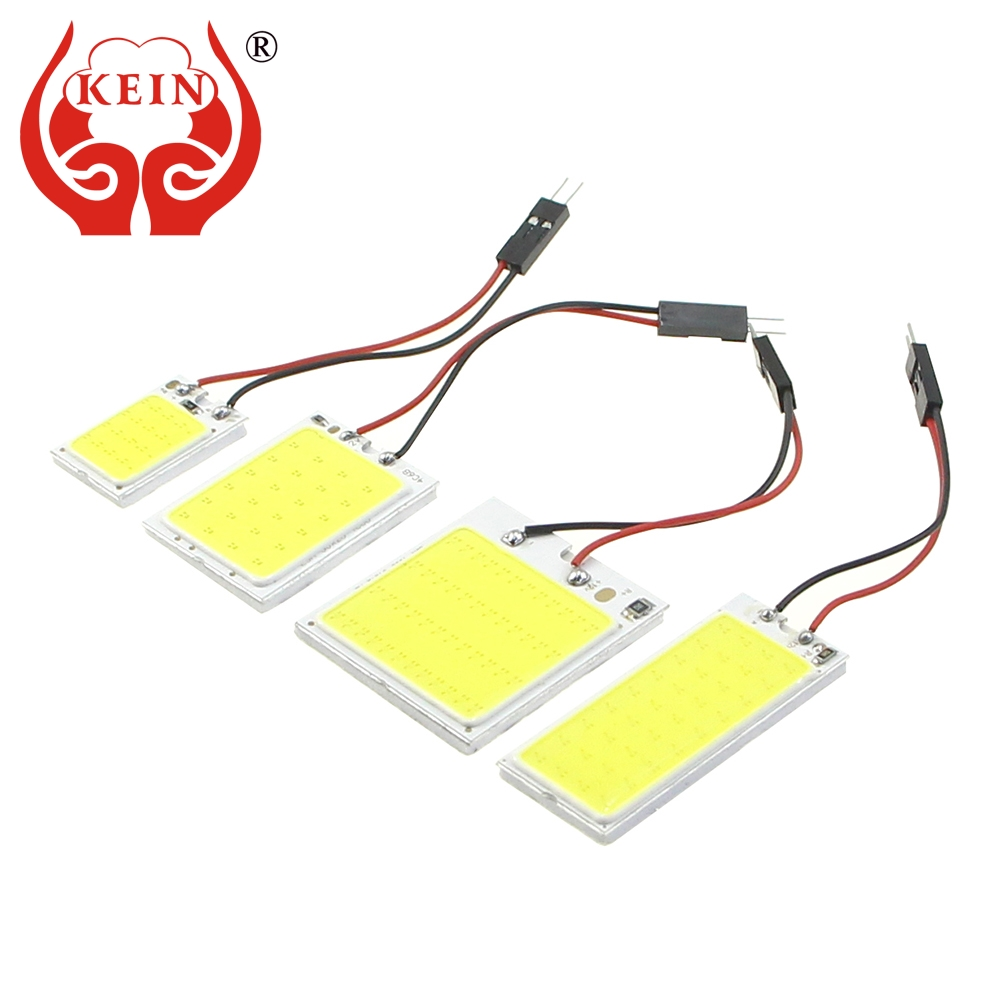 KEIN 1PCS W5W T10 C3W C5W C10W BA9S festoon LED COB car interior Panel map lights reading Bulb dome Vehicle Vanity Mirror Lamp 2pcs white red blue t10 24 smd cob led panel car auto interior reading map lamp bulb light dome festoon ba9s 3adapter dc 12v led
