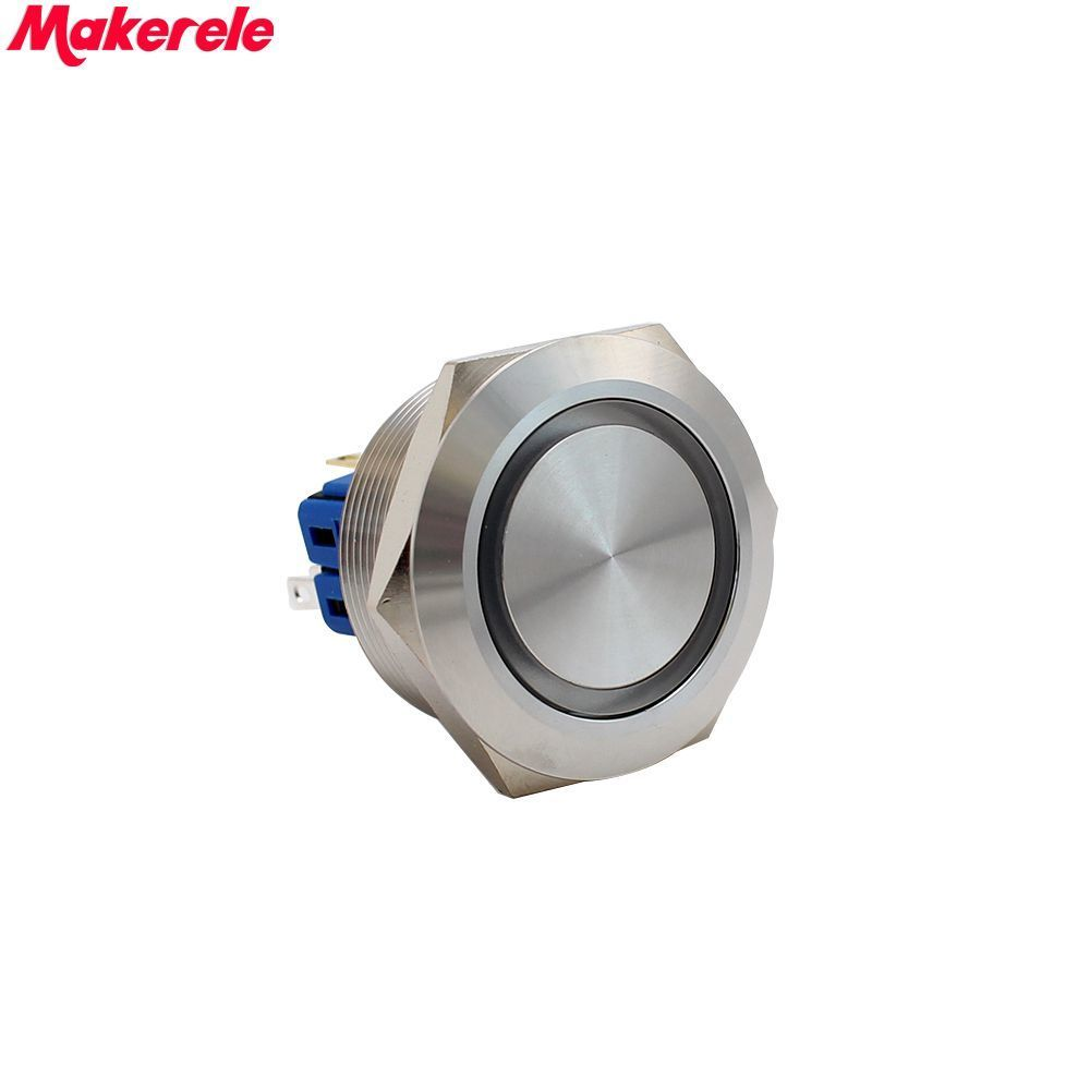 30mm DC24V Red LED Latching Stainless Steel Push Button Switch 1NO 1NC IP67 Makerele 1 x 16mm od led ring illuminated latching push button switch 2no 2nc