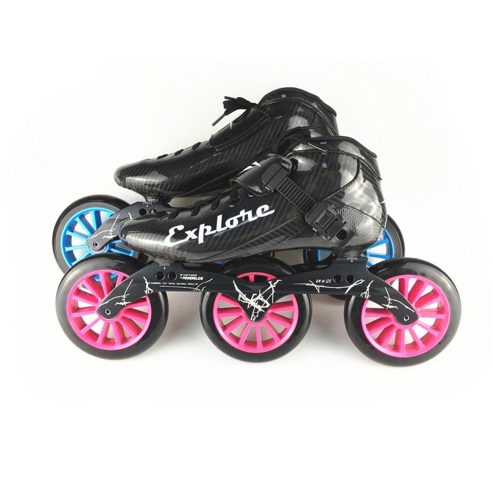 JEERKOOL Carbon Fiberglass Inline Speed Skates 3*125mm Wheels Kid Adult Beginner Speeding Training Street Racing Shoes SH40 цена 2017