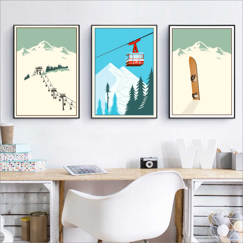 Winter Sports Skiing Art Poster Canvas Painting , Vintage Travel Poster Ski In Snow Mountain Painting Winter Home Decor
