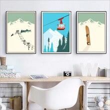 Póster Artístico de lienzo de deportes de invierno para esquiar, póster de viaje Vintage, pintura de esquí en montaña y nieve, decoración del hogar para invierno