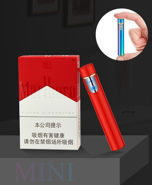 2018 New Mini USB Lighter Touch Screen Electric Cigarette Lighters Thin Windproof Metal Rechargeable Lighter Gadgets For Men