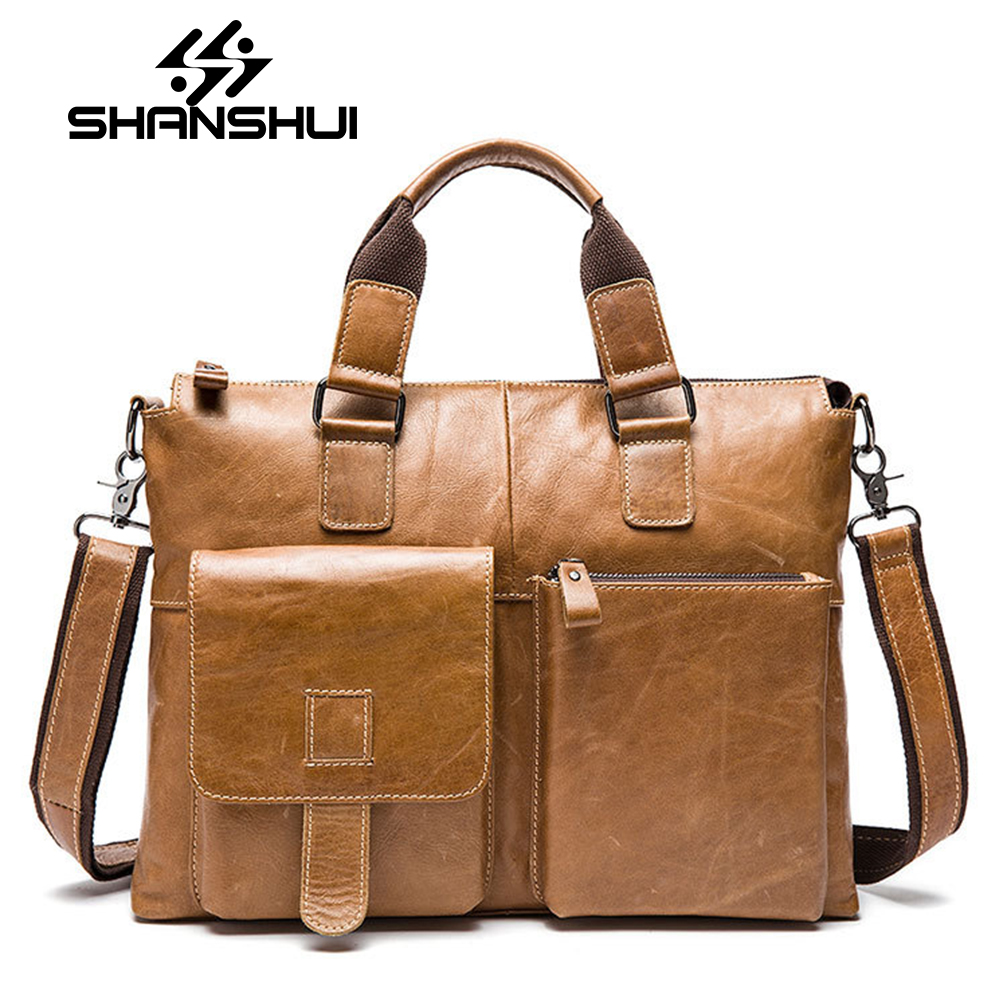 Men Genuine Leather Bag Business Men Bags Briefcase Luxury Shoulder Bags Laptop Crossbody Messenger Bag Handbag Bolsa Masculina