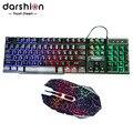 Colorful teclado retroiluminado russo led computador com fio + rachadura mouse para pro gamer 6d óptico com fio de jogo levou