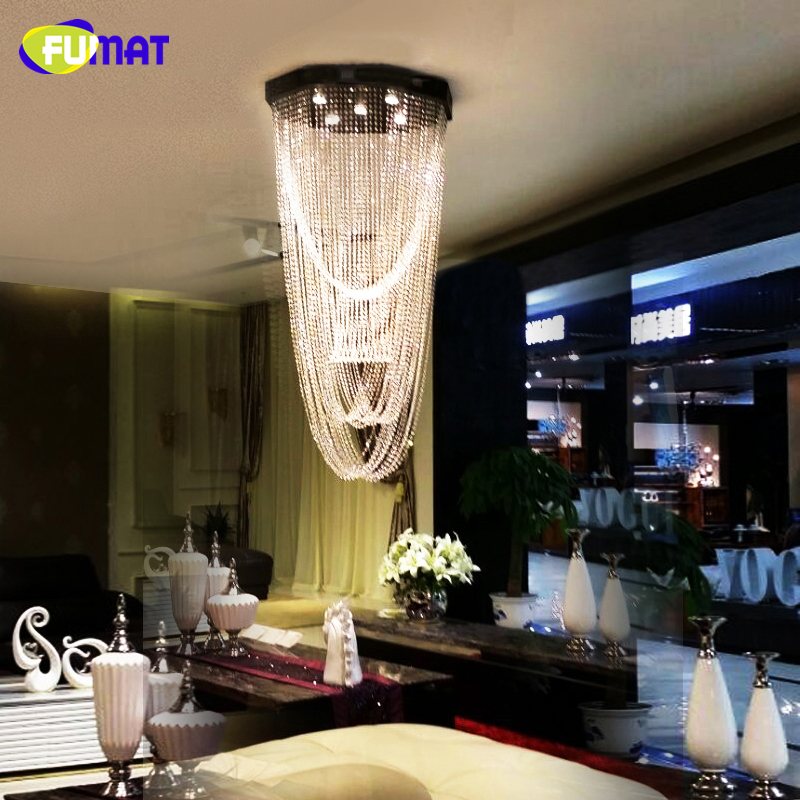 FUMAT K9 Crystal Chandelier Lightings Modern LED Curtain Crystal Light Living Room Hotel Hanging Lights GU10 LED Lustre Lamps