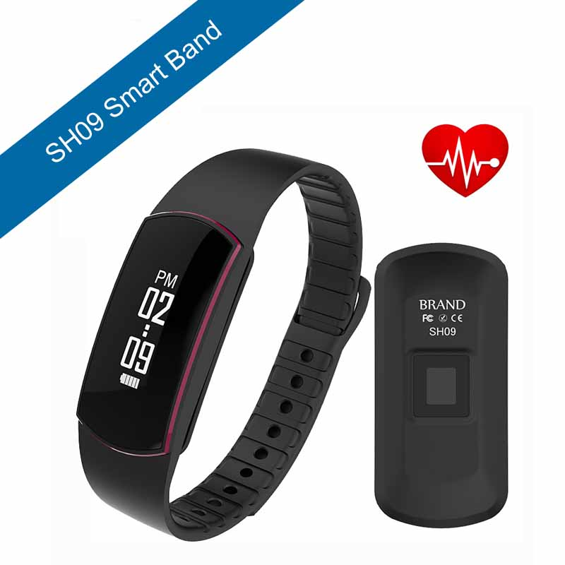 ФОТО SH09 Bluetooth 4.0 Smart band Bracelet IP67 Heart Rate Monitor Sport Fitness Tracker for Android iOS smartphone