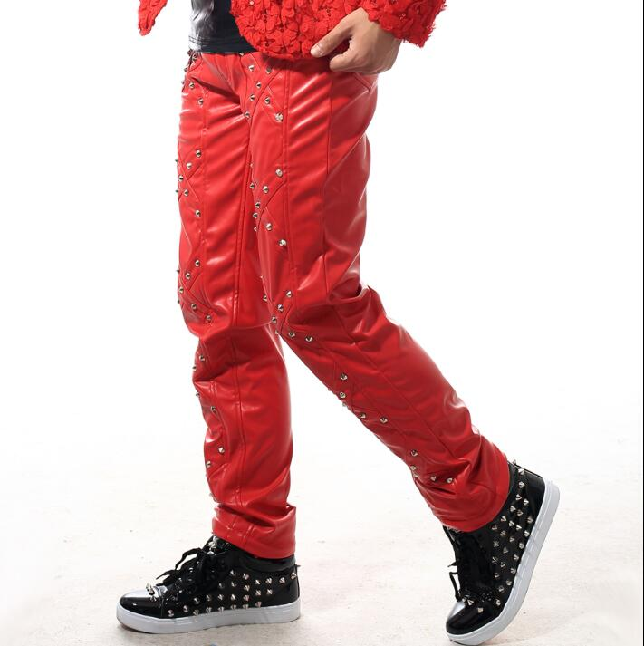 Novedad Remache Punky Dance Hombres Pantalones Homme Coreano Pants Etapa Pantalon Rock Only Delgado De Rojo Cuero Calle ndYwOnH0q