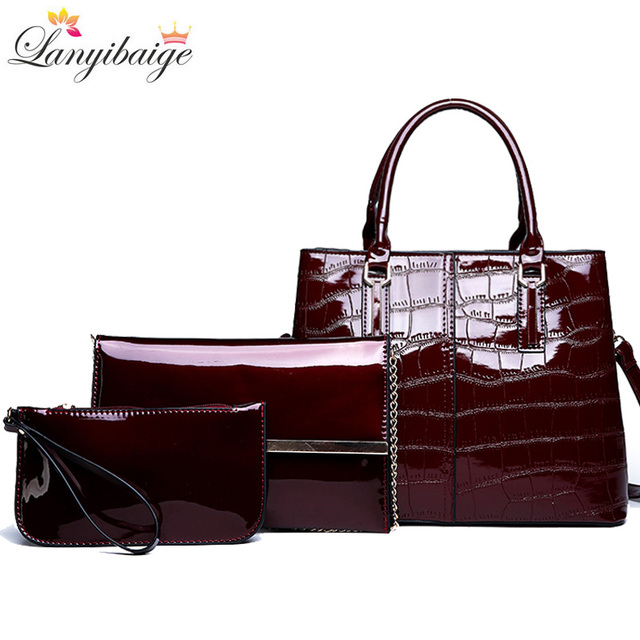 Fashion 3 Sets Women Handbags 2020 High Quality Patent Leather Women Luxury Brands Tote+Ladies Shoulder Messenger Bag+Clutch S