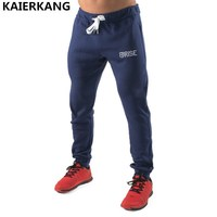 2017 Fashion Men Motion Trousers Casual Elastic Cotton Mens Bodybuilding Workout Pants Skinny Printing Jogger Brand