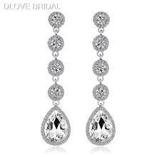 Элегантные Длинные свадебные серьги с кристаллами высококачественный