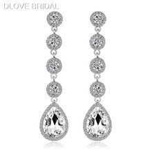 Elegant Crystal Long Bridal Wedding Earrings High Quality Prom Party Accessory for Women