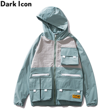 Dark Icon Color Block Cargo Jackets Men Stereo Pockets Street Mens Jacket 2019 New Hooded