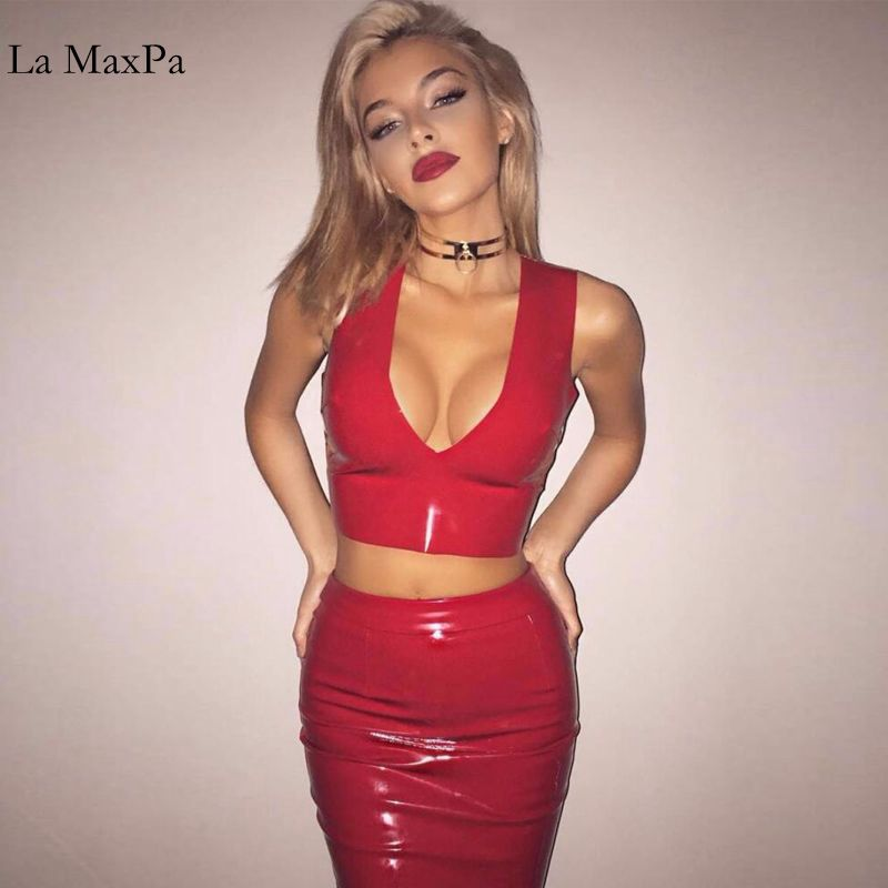 La MaxPa Women Fashion Sexy Latex V neck Sleeveless 2 pcs Evening Party festa Mini Bodycon