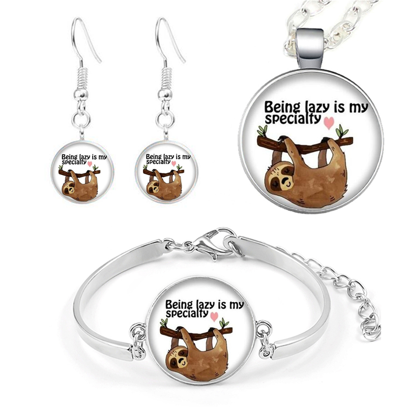 4PCS Cute Sloth Letters Jewelry <font><b>Set</b></font> Animal Jewelry Necklace Pendant <font><b>Bracelet</b></font> Earrings Birthday Holiday Anniversary Gift Jewelry image