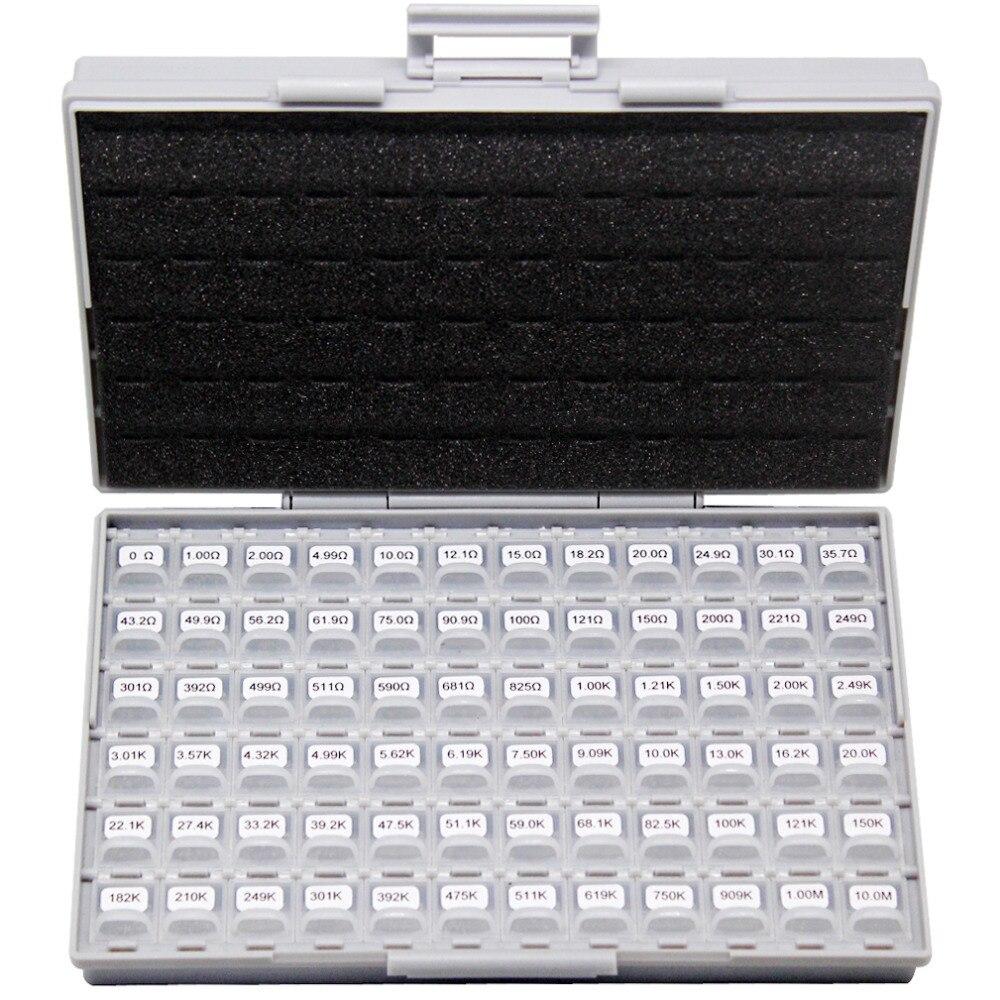 AideTek New SMD SMT 0603 Size 72 Values 100pc/v E96 1% Resistor Kit 0 10M RoHS BOX-ALL Lables Plastic Part Box R06E12100